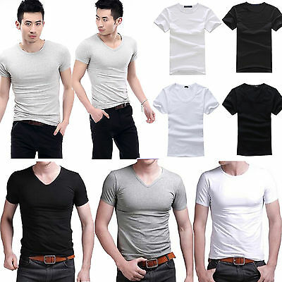 Mens Slim Fit V-neck Crew neck T-shirt Short Sleeve Muscle Tee Size M L XL ney