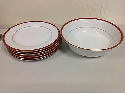 Boots Fine China Cavendish Red Trim Vegetable Bowl And Side Plates SR17