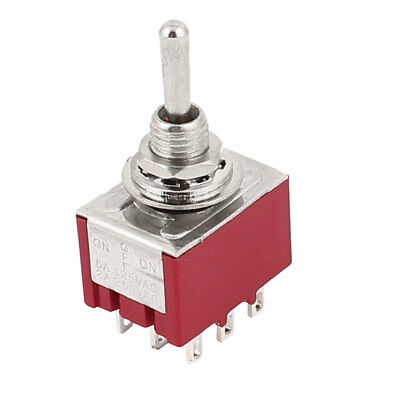 AC 250V 2A 3PDT ON-OFF-ON 3Positions 9Pin Latching Miniature Toggle Switch