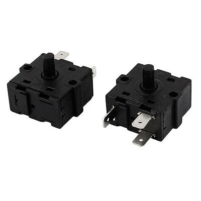 AC 250V 10A 3 Terminals Rotary Switch Electric Heater Selector Black 2PCS