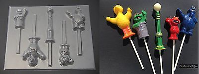 SESAME STREET Elmo Big Bird Oscar Cookie Monster Chocolate Candy Lollipop Mold