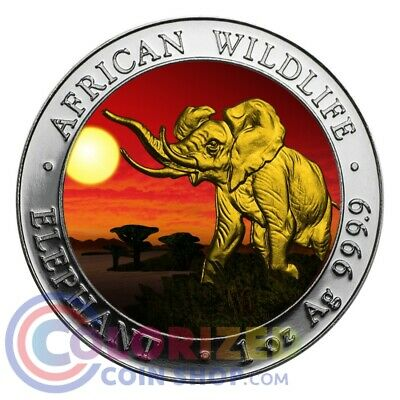 2016 1 oz Fine Silver Elephant Somalia African Sunset 24k Gold Gilded Box & COA