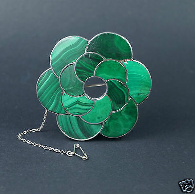 19th Century Scottish Malachite Sterling Silver Brooch Circa 1880