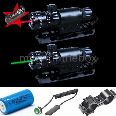 Tactical Hunting Rifle Green/Red Laser Sight Dot Scope with battery&charger