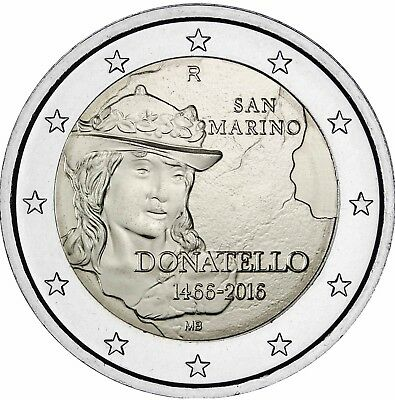 San Marino 2 Euro 2016 David von Donatello Gedenkmünze in Coin Card