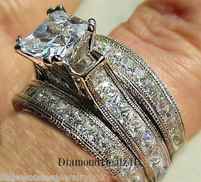 Solid 925 Sterling Silver Princess cut Engagement Ring Women's Bridal Band Set