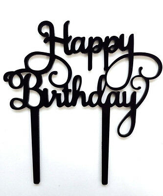 Happy Birthday Cake Topper Party Black Sign Table Decoration Favor Gift