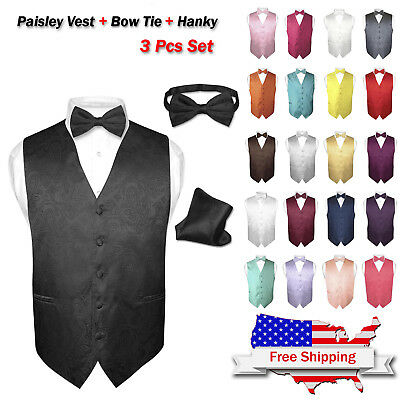 Men's Dress VEST Bow Tie Hankie Set PAISLEY Design for Suit Tuxedo BowTie Hanky