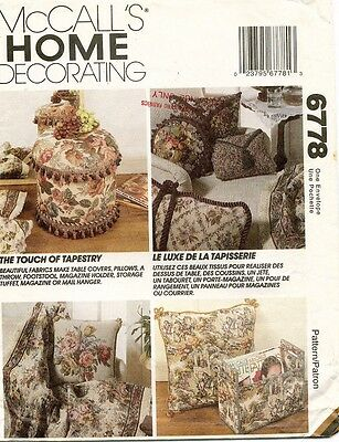 McCall's Decorating Accessories Pattern 6778  UNCUT