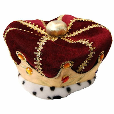 Kings Royal Crown Fancy Dress Costume Accessory Red Velveteen & Gold Fabric