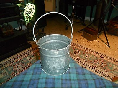 Vintage GALVANIZED METAL HANGING PLANTER BUCKET CAN W/ Handle made Philippines