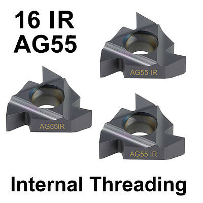 3 PC Carbide Tip CNC Internal Threading Insert 16IR Imperial AG55 Deg Lathe Tool