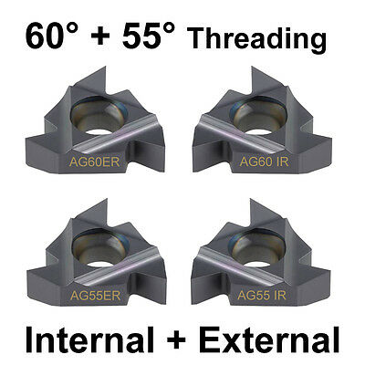 4PC Carbide Tip CNC Internal+External Threading Inserts Imperial+Metric 60° 55°