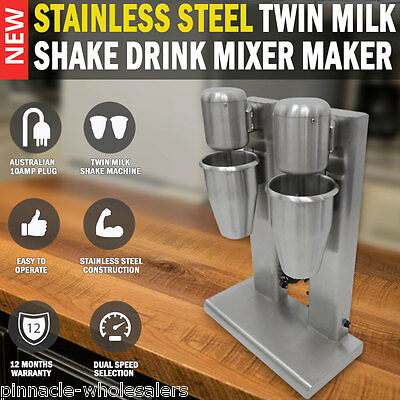 NEW Commercial Stainless Steel Twin Milk Shake Drink Mixer Maker Blender