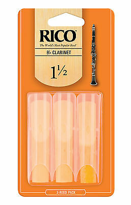 Rico Bb Clarinet Orange Reeds by D'Addario 3 Pack 1.5 2 2.5 3 Free Delivery