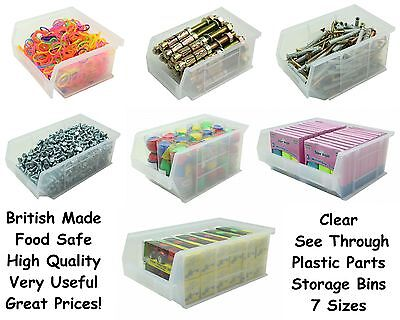 New Quality See Through Clear Plastic Parts Storage Bins Boxes Choice Of 7 Sizes