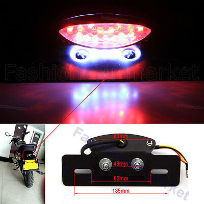 LED Black Motorcycle Motorbike Mopeds Scooter Rear Brake Tail Light Number Plate