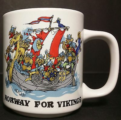 Norway For Vikings Mug - Depicts Happily Over Crowded Viking Ships