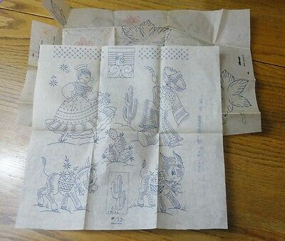 Vintage 1930s HAND EMBROIDERY TRANSFER PATTERNS Mexican SW Style / FLORAL Flower
