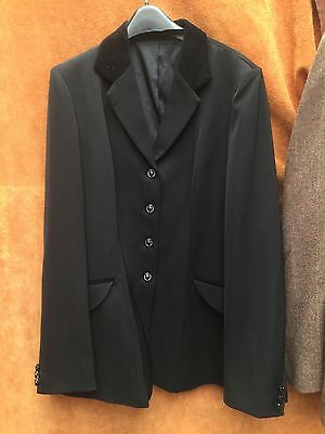 "Equetech 40"" Black Mens Invent Show Jacket Velvet Collar ex Display"