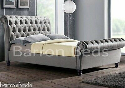 CHESTERFIELD SLEIGH STYLE UPHOLSTERED BED FRAME CHENILLE FABRIC double king
