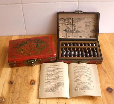 Chinese traditional Computing account tool abacus with dragon phoenix wooden box