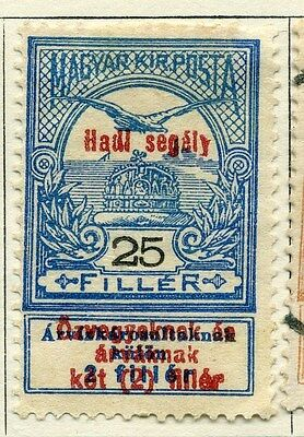 HUNGARY;  1914 early War Charity issue Mint hinged 25f. value