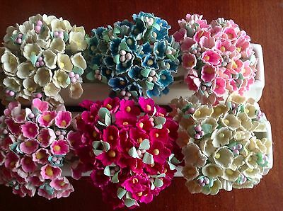 Vintage Millinery Flower Forget Me Not 6 bunch Collection for Hat + Hair Crown