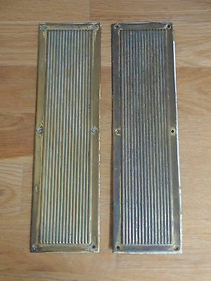 Pair Reclaimed Edwardian Finger Door Push Plates Fingerplate