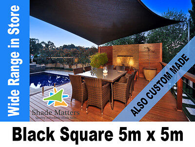 New Extra Heavy Duty Shade Sail- Square 5m x 5m  Black Color also Custom Made