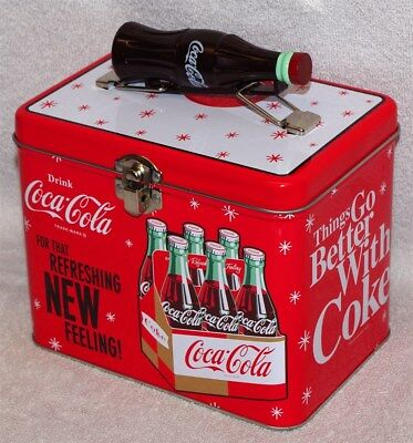 """Coca-Cola """"for That Refreshing New Feeling"""" Train Case / Lunch Box Tin, New!"""