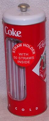 """Coke """"ice Cold"""" Straw Holder With 50 Straws - Coca- Cola Collectable - New!"""