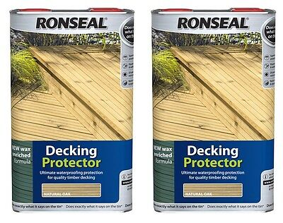 2 x Ronseal Decking Timber Wood Protector 5L Natural Waterproofing Wax Enriched
