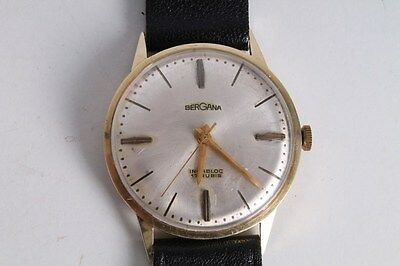 Antique Vintage Old Bergana Gold 585 Mens Wrist Watch. 17 Jewels.
