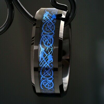8mm Tungsten Ring Black Celtic Dragon Blue Carbon Fibre Mens Jewelry