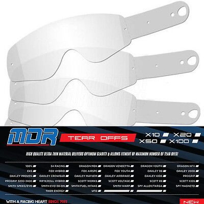 100 X MDR 100% TEAR OffS for 100% MOTOCROSS GOGGLES ACCURI STRATA RACECRAFT