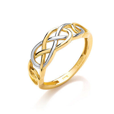 9ct 2 Colour Yellow and White Gold Celtic Ring