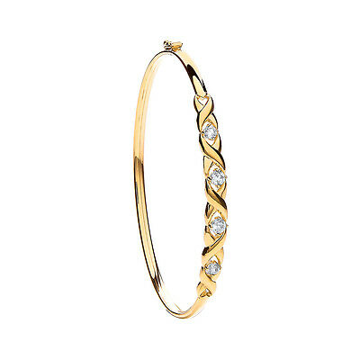 9ct Yellow Gold Clear Stone Ladies Bangle