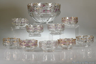 c. 1912 No 15140 ATHENIA by U.S. Glass STAINED CRYSTAL Ten Piece Berry Set