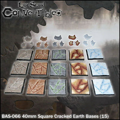 LAST STAND CONVERTIBLES BITS CRACKED EARTH BASES - 15x 40mm SQUARE