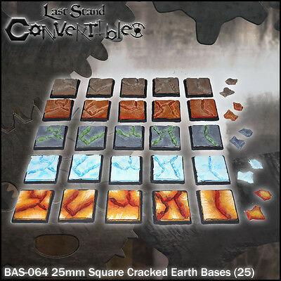 LAST STAND CONVERTIBLES BITS CRACKED EARTH BASES - 25x 25mm SQUARE