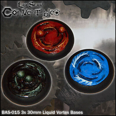 LAST STAND CONVERTIBLES BITS - 3x 30mm LIQUID VORTEX BASES - WATER OIL LAVA MUD