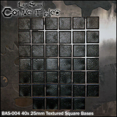 LAST STAND CONVERTIBLES BITS - 40x 25mm SQUARE TEXTURED BASES