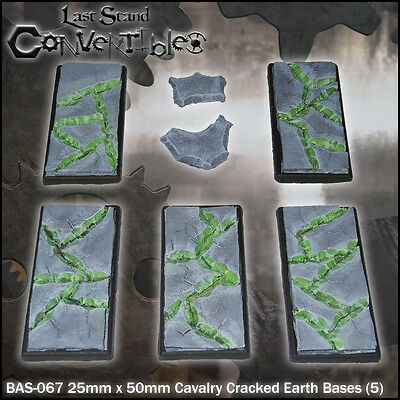 LAST STAND CONVERTIBLES BITS CRACKED EARTH BASES - 5x 25mm x 50mm CAVALRY