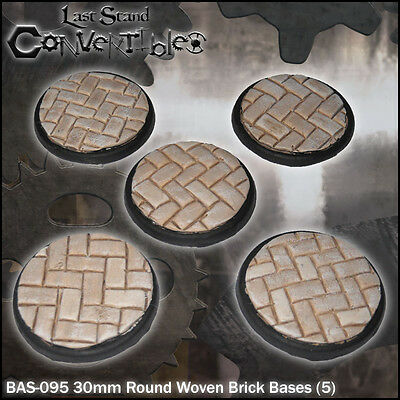 LAST STAND CONVERTIBLES BITS WOVEN BRICK BASES - 5x 30mm ROUND