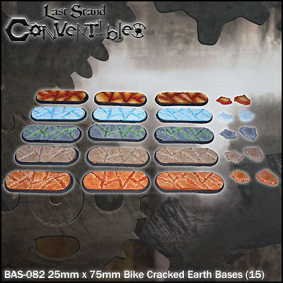 LAST STAND CONVERTIBLES BITS CRACKED EARTH BASES - 15x 25mm x 75mm BIKE