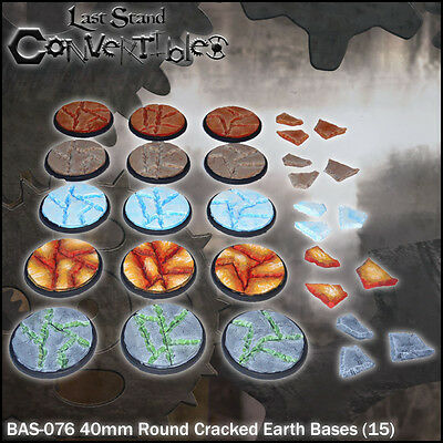 LAST STAND CONVERTIBLES BITS CRACKED EARTH BASES - 15x 40mm ROUND