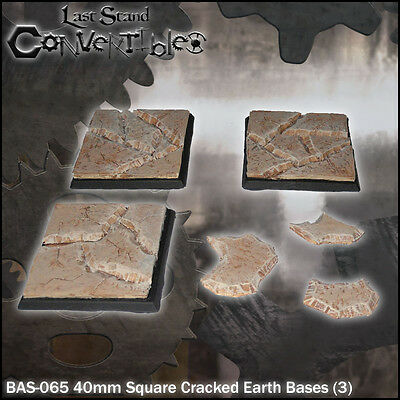 LAST STAND CONVERTIBLES BITS CRACKED EARTH BASES - 3x 40mm SQUARE