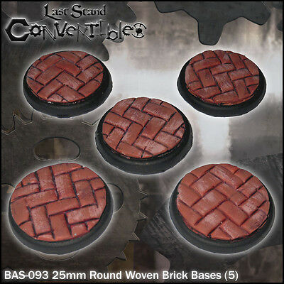 LAST STAND CONVERTIBLES BITS WOVEN BRICK BASES - 5x 25mm ROUND