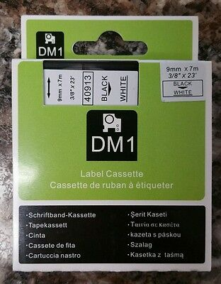"""Best quality Black on White Label Tape Compatible for DYMO D1 40913 3/8"""" 9mm"""